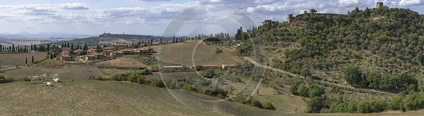 Monticchiello Tuscany Winery Panoramic Viepoint Lookout Hill Autumn Western Art Prints For Sale - 022842 - 13-09-2017 - 28168x7760 Pixel