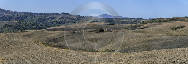 Montignoso Tuscany Farmland Brown Panoramic Viepoint Lookout Hill Fine Art Photography For Sale - 022835 - 14-09-2017 - 21646x7470 Pixel