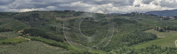 Piazza Chianti Tuscany Winery Panoramic Viepoint Lookout Hill Royalty Free Stock Images - 022816 - 15-09-2017 - 24810x7675 Pixel