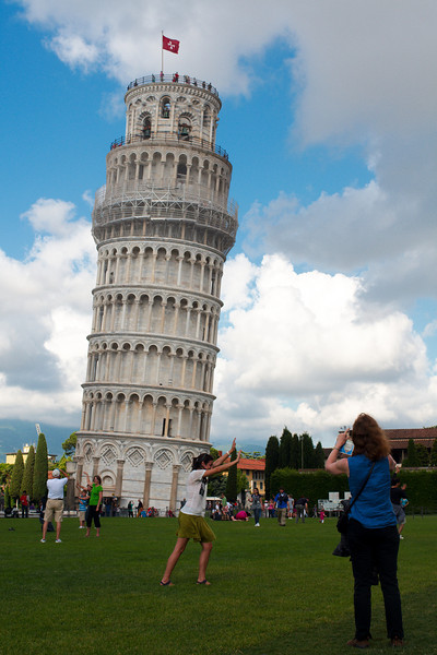 Posing for photos with the leaning tower