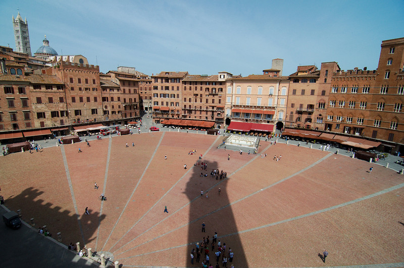 Shadow of the Torre del Mangia on the Piazza del Campo