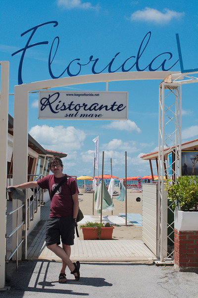 Yann posing at Florida restaurant