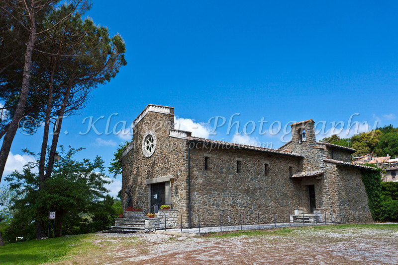 A stone church in rural Tuscany, Italy.