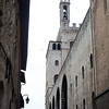 The imposing buildings and narrow streets of Gubbio