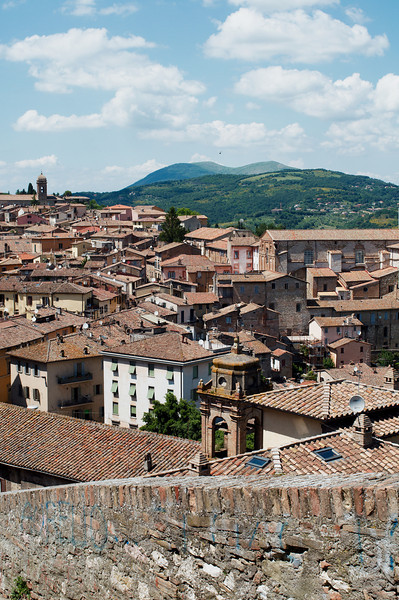Looking out over Umbria from the walls of Old Perugia
