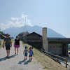 Heading to the Alpine pool in Courmayeur