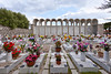 Crosses and flower arrangements at the Santa Maria della Neve church and  memorial cemetery near Torca, Italy.