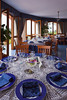The banquet room with table settings at the Hotel La Margherita Villa Giuseppini in Scala, Italy.