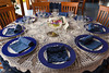 The banquet room with table setting at the Hotel La Margherita Villa Giuseppini in Scala, Italy.