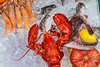 Close up of a seafood display at an outdoor restaurant along the Grand Canal in Veneto, Venice, Italy, Europe.