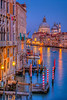 An evening view of the Grand Canal, Veneto, Venice, Italy, Europe.