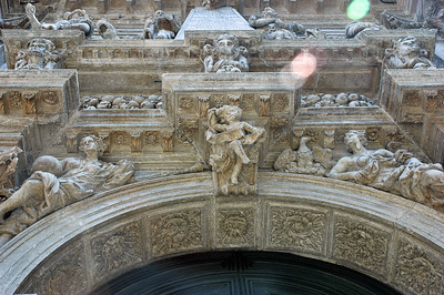 Some of the sculptural detail above the central doorway arch on Chiesa di San Moise.