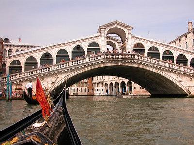 Approaching the famous bridge.