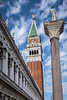The Mark's Basilica bell tower in San Marco Square in Veneto, Venice, Italy, Europe,