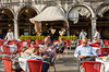 Restaurant entertainment in San Marcos Square, Venice, Italy, Europe.