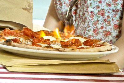 Pizza on fire.