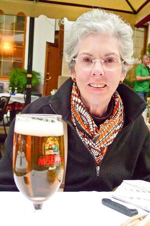Joyce enjoying a beer