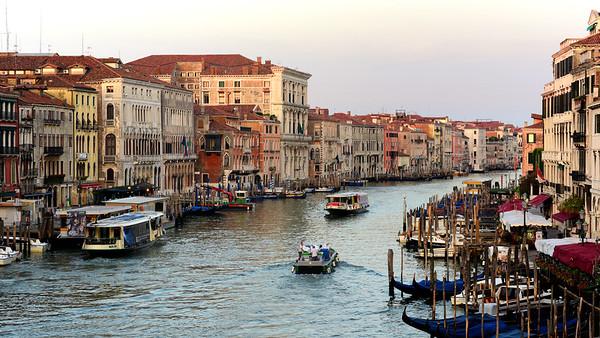 Old buildings in Venice from Rialto Bridge