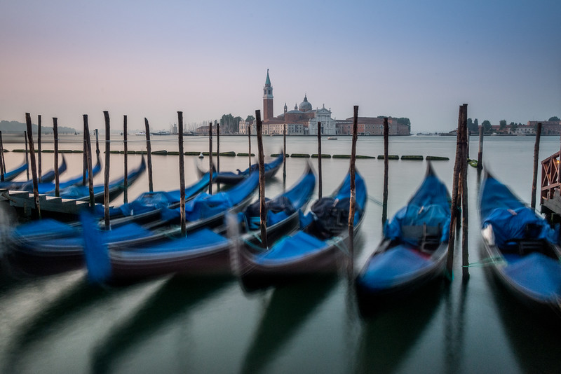 Gondolas at sunrise, Venice.