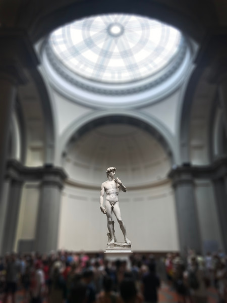 Michelangelo's David at the Galleria dell'Accademia in Florence. 2017.
