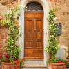 Narrow Door & Flowerpots, Montisi, Tuscany