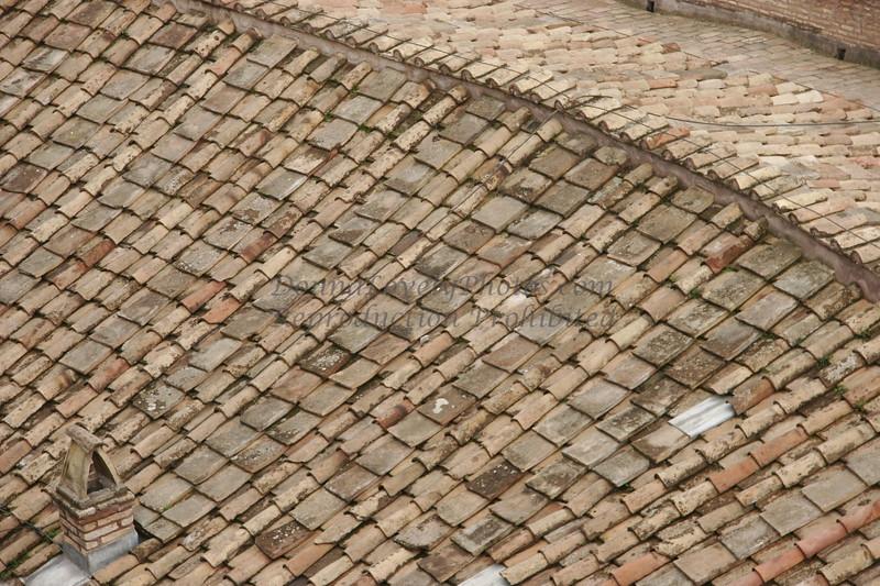 Roman tile roof, Castel Sant Angelo, Italy