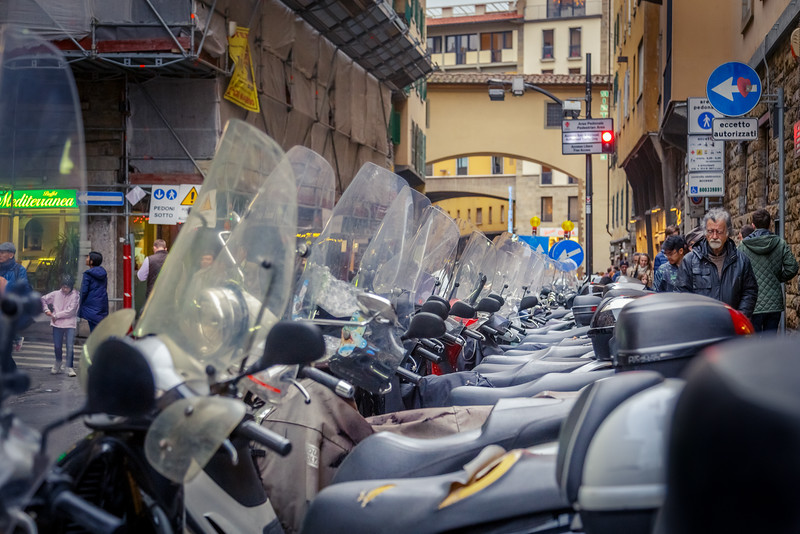 Row of motorcycles in Florence, Italy.