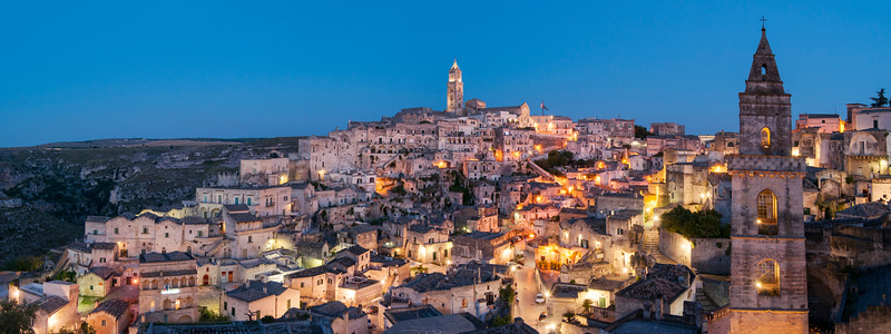 Panoramic View of Sasso Barisano at Dusk, Sassi di Matera, Basilicata, Italy