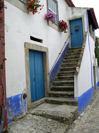 Blue doors and stairway, Obidos, Portugal