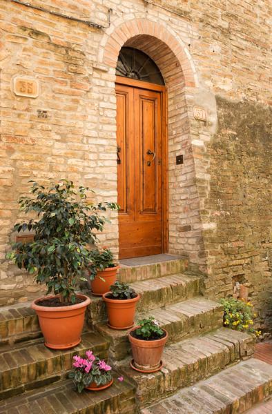 Italian door & steps with flowerpots
