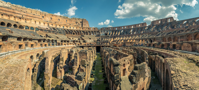 Panorama of the Colosseum in Rome, Italy.