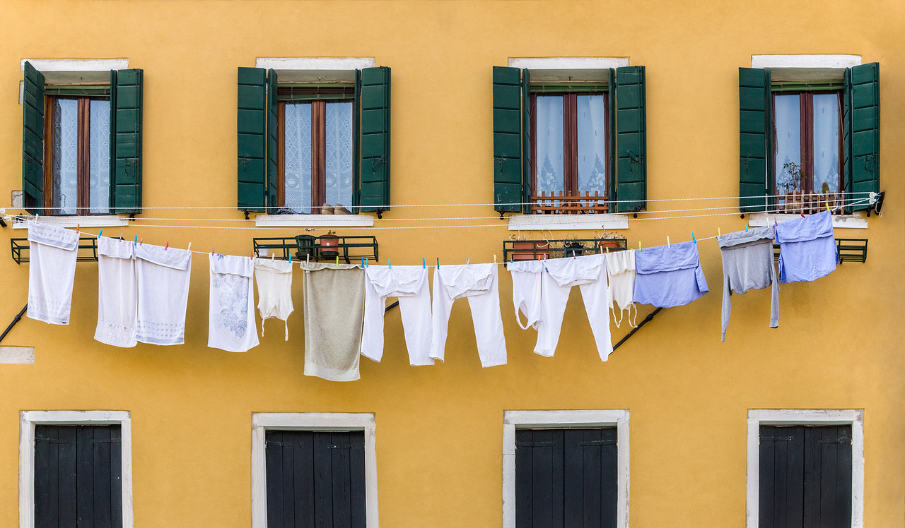 Laundry hanging to dry in Venice, Italy.