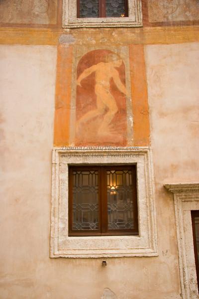 Castel Sant Angelo window and fresco adj RAW