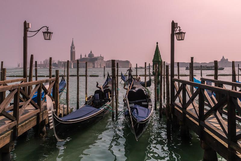 Gondolas docked in Venice, Italy.