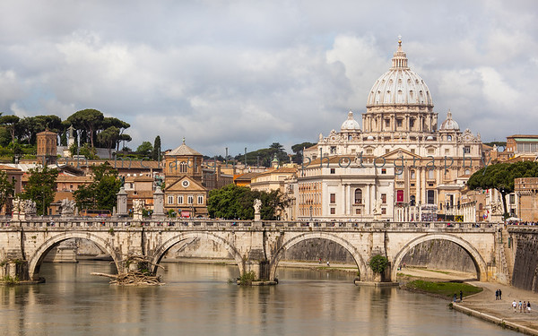 The Vatican over the Tiber River, Rome