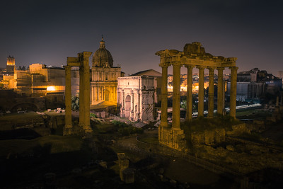 Roman Forum in Night Lights