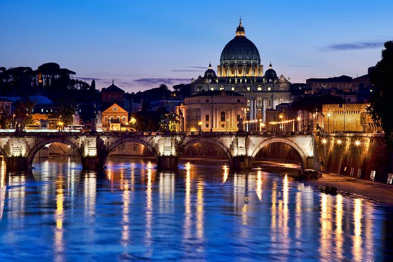 St. Peter's Basilica at twilight