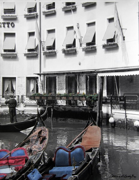 """""""Gondolier and Hotel Canaletto, Venice,"""" hand colored B&W photo"""