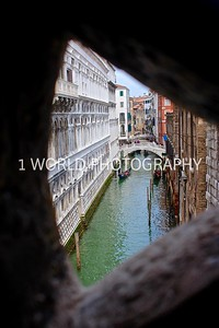Taken from the Bridge of Sighs. The Bridge of Sighs, one of the most famous bridges in the world, connected the halls of the courts of the Doges (Dukes) Palace and the Venice prison. Built in between the 16th and 17th century.