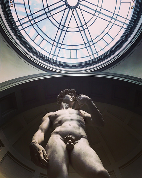 Standing under Michelangelo's David at the Galleria dell'Accademia in Florence. 2017.