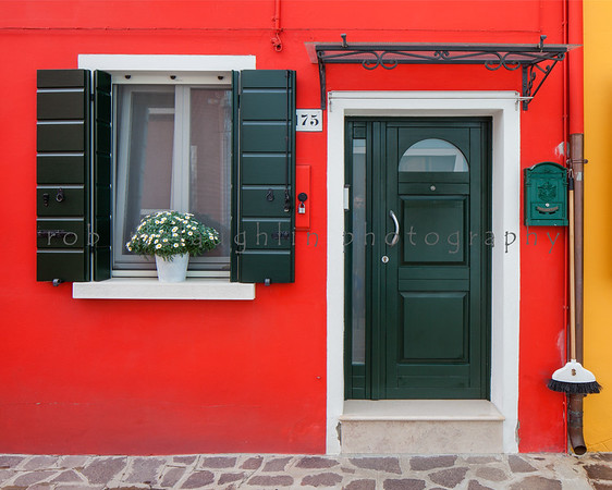 Green Door and Shutters on Red, Burano, Venice, Veneto
