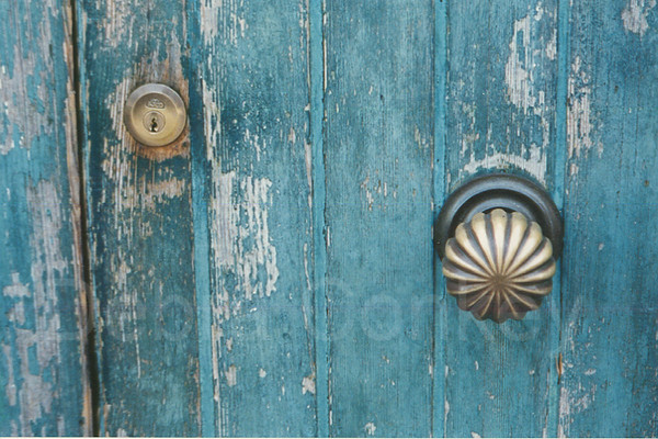 Blue door and knob, Venice, Italy