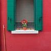 Green Shutters and Red Wall with Broom, Burano