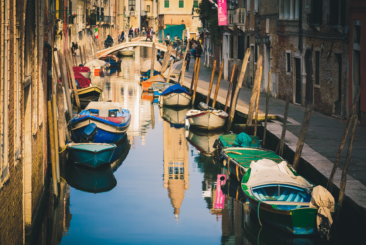 Looking down the canals of Venice.