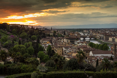 Sunset over the Arno River, Florence, IT
