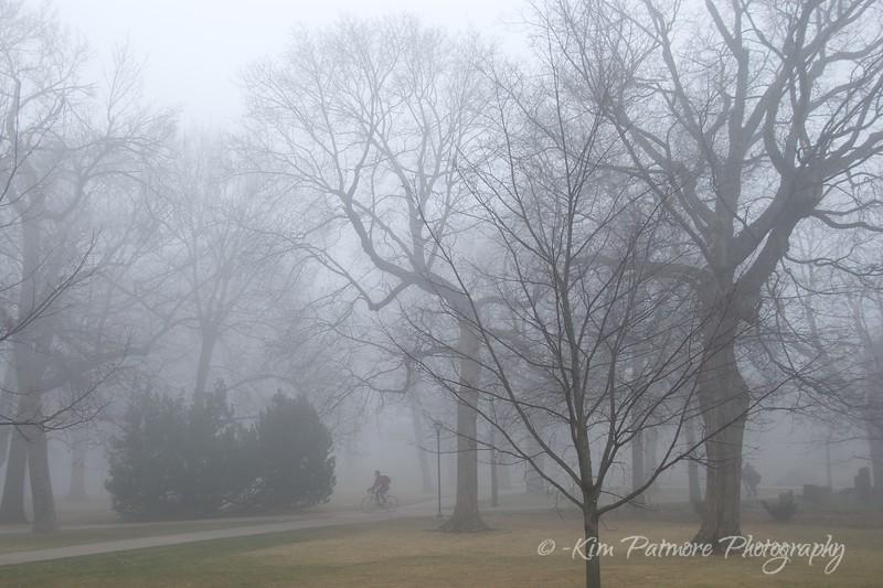 Early morning biker in the fog.<br /> Minnesota