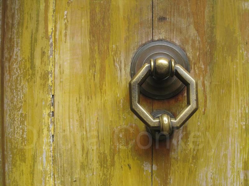Yellow Door with Knob, Siena, Tuscany, Italy