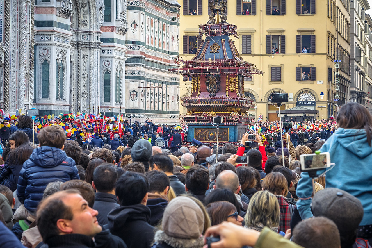 """The Scoppio del Carro or """"Explosion of the Cart"""" in Florence, Italy."""