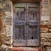 Wood Door with Brick & Stone, Lucignano d'Asso, Tuscany
