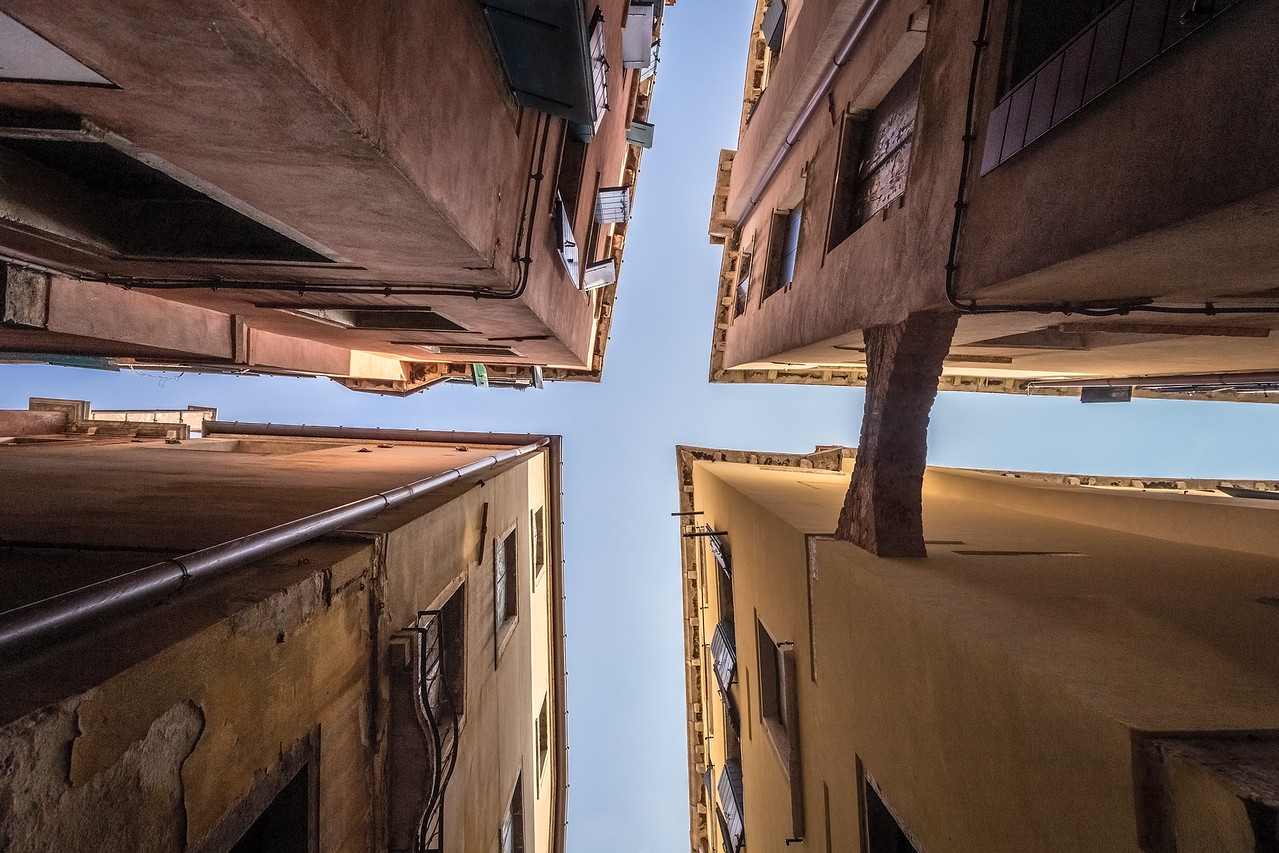 Looking up at a different view of Venice.